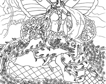 Hand Drawn Fairy Woman Flower Rock Leaves Wings Coloring Page Book