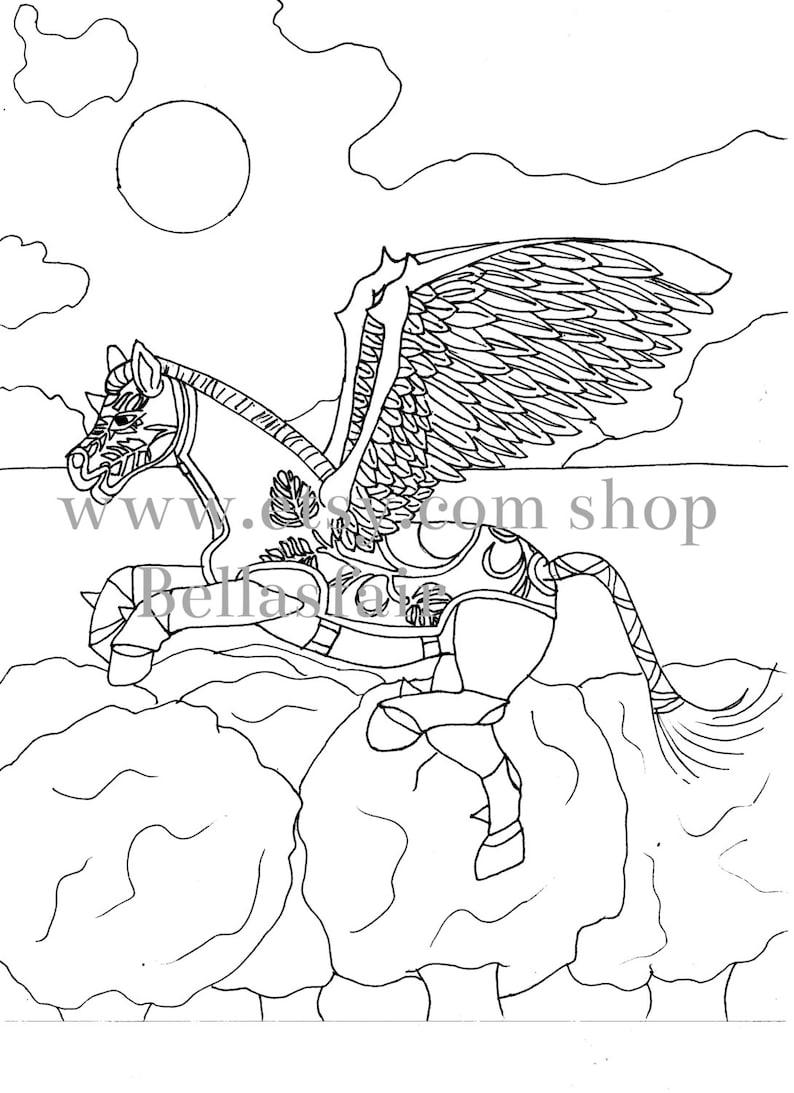 Kleurplaten Paard Met Vleugels.Hand Getrokken Mythische Paard Kleuren Kleurplaat Fantasie Etsy