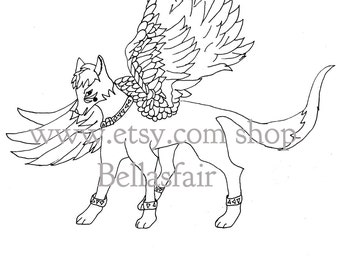 Hand Drawn Mythical winged Wolf, coloring, coloring page, fantisy wolf, mythical wolf, winged, wolf,coloring book