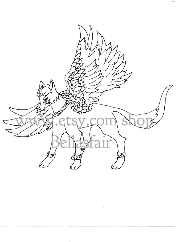 Hand Drawn Mythical Winged Wolf Coloring Page