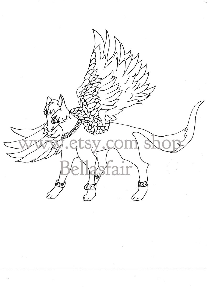 winged wolf sketch