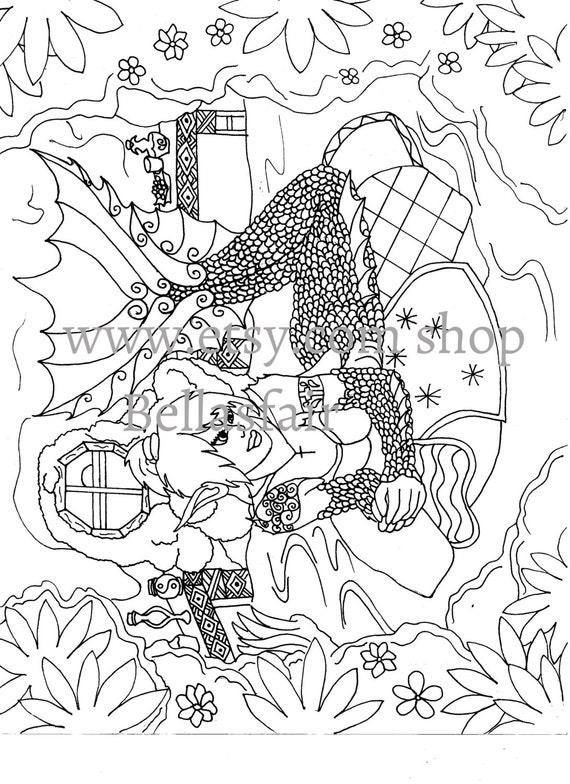 Mano sirena dibujada para colorear la página para colorear | Etsy