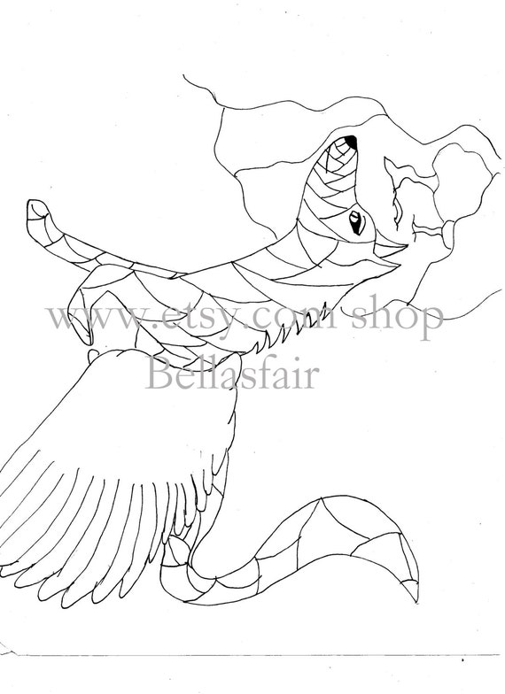 Hand Drawn Mythical Wolf Coloring Coloring Page Fantisy Wolf Mythical Wolf Wolf