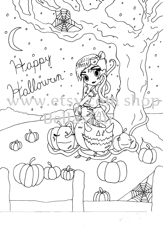 Halloween Färbung Seite Malvorlagen Kürbis Baum Mädchen | Etsy