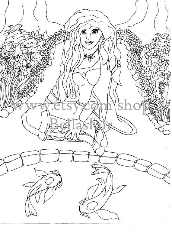 Una mujer pez koi árboles flujos seta un estanque | Etsy