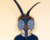 Mosquito Felt Mask, Insect costume, children mosquito mask, adult insect mask, Black Mosquito costume, Halloween mask, Bug mask, dress up