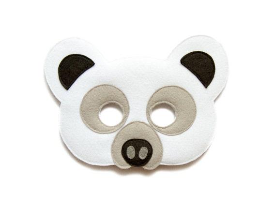 Polar Bear Felt Mask White Bear Mask Toddler Kids Polar Bear Mask Adult Arctic Animal Mask White Polar Bear Costume Felt Bear Mask