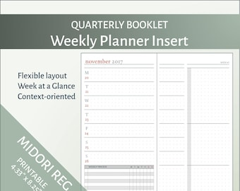Oct-Dec 2018- MTN Weekly Planner Insert -Design A-Printable Midori Travelers Notebook Refill