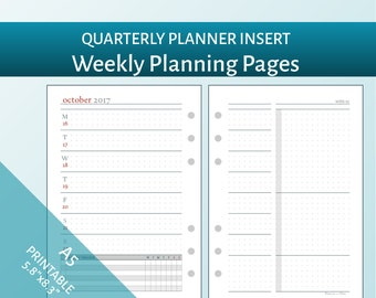 Apr-Jun 2018 - A5 Weekly Planning Pages - Design A - Printable Filofax Insert