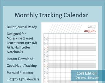 2018 Monthly Printable Calendar Tracker for Bullet Journals, Moleskine & Leuchtturm