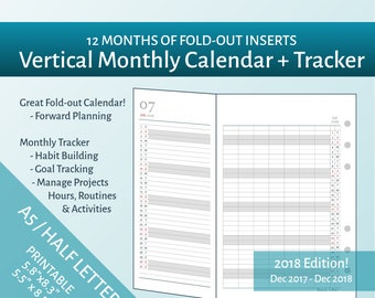 2018 A5 & Half Letter Vertical Monthly Fold-Out Calendar + Tracker Printable - Filofax A5 Inserts, Junior ARC, Levenger Circa