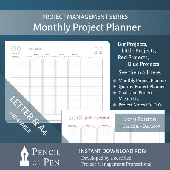 2019 monthly project planning calendars in printable letter etsy