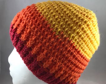 Yellow Orange and Red Striped Winter Beanie
