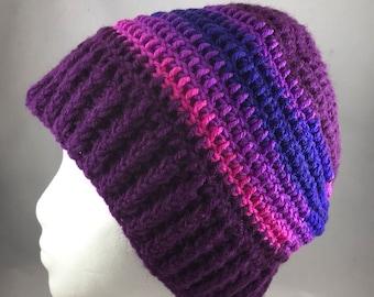 Purple Striped Handmade Crocheted Winter Beanie