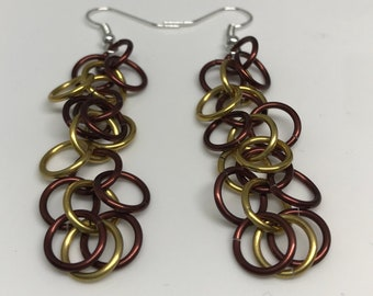Brown and Yellow Shaggy Loops Chainmaille Dangle Earrings