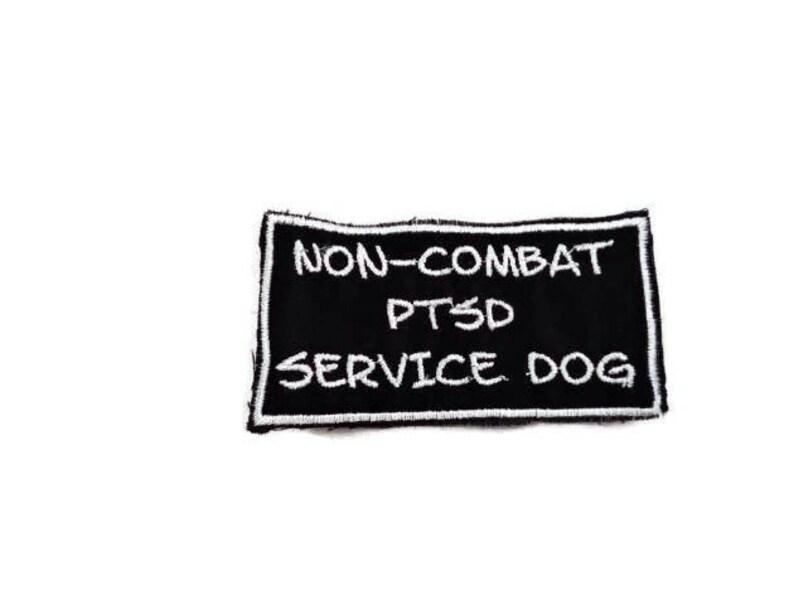 2x4 Non-Combat PTSD Service dog white patch Service dog patch