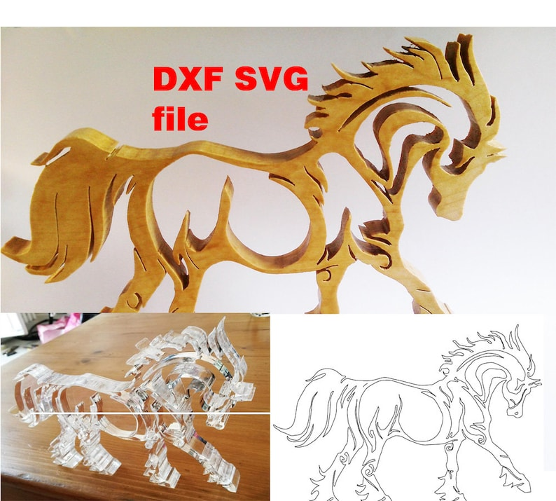 Horse SVG files and DXF file for laser cutting vinyl cnc and image 0