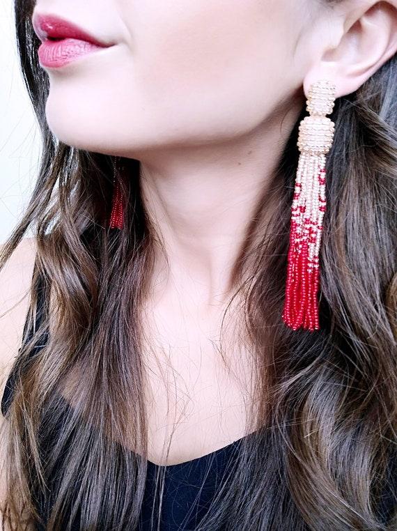 Tassel earrings beaded earrings red tassel earrings statement long oscar fringe jewelry renta holiday tassle stud gold seed beaded earrings
