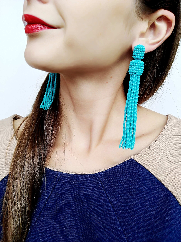 fbbfc5662 Bead tassel earrings Turquoise tassel earrings Oscar de la | Etsy