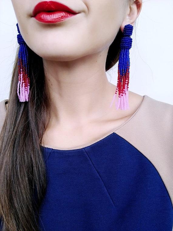 Long red beaded tassel earrings Oscar earrings Red clip on tassel earrings Oscar de la Renta earrings Fringe stud earrings Holiday earrings