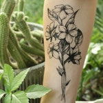 Floral Cluster Temporary Tattoo, Wild Flower Bouquet, Black Line Hand Drawn Nature Tattoo