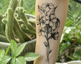 a063d97172332 Floral Cluster Temporary Tattoo, Wild Flower Bouquet, Black Line Hand Drawn  Nature Tattoo