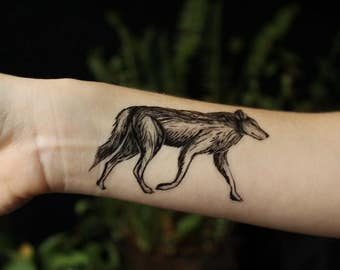 Image of: Forest Coyote Temporary Tattoo Black Ink Wild Dog Animal In Nature Tattoo Etsy Bear Temporary Tattoo Black Ink Forest Animal Tattoo Nature Etsy