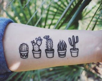 a95e684750bb2 Potted Cactus Temporary Tattoos, Succulent House Plants, Black Line  Drawing, Nature Tattoo