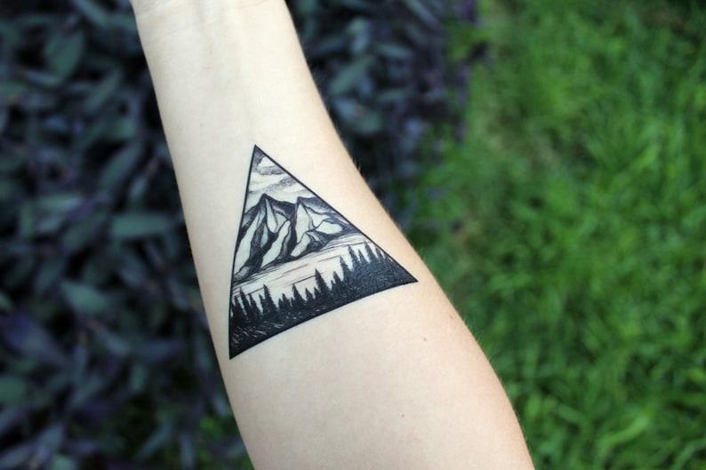 Triangle Mountain & Pine Forest Scene Temporary Tattoo Black image 0