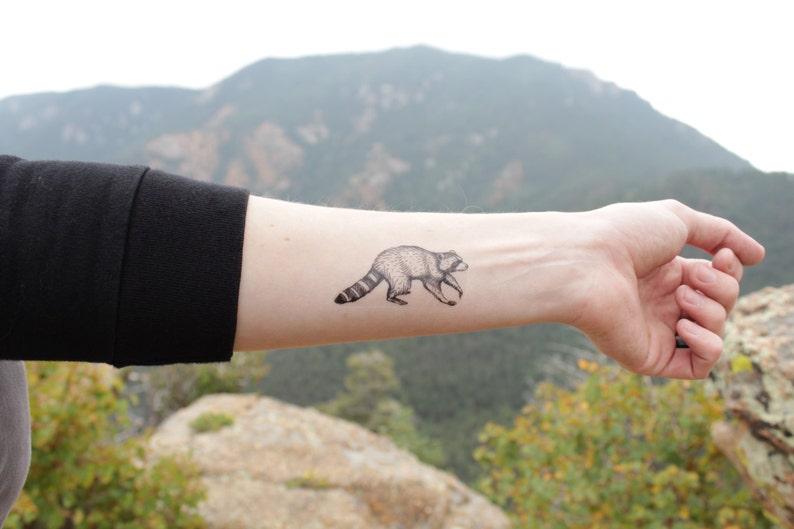 515b884e8 Raccoon Temporary Tattoo Black Ink Raccoon Forest Animal | Etsy