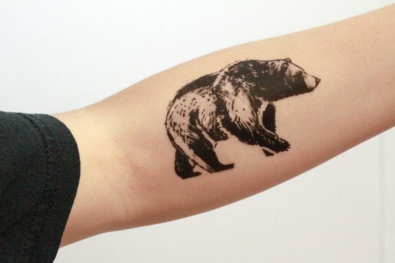 Bear Temporary Tattoo, Black Ink, Forest Animal Tattoo, Nature Tattoo