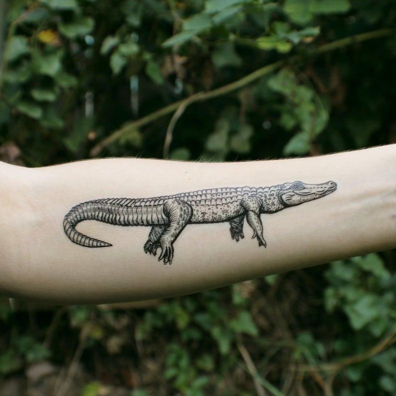 e05e2db9c Alligator Temporary Tattoo Crocodile Tattoo Black Ink   Etsy