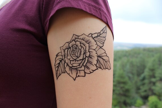 Rose Bloom Temporary Tattoo Black Ink Floral Tattoo Design Etsy