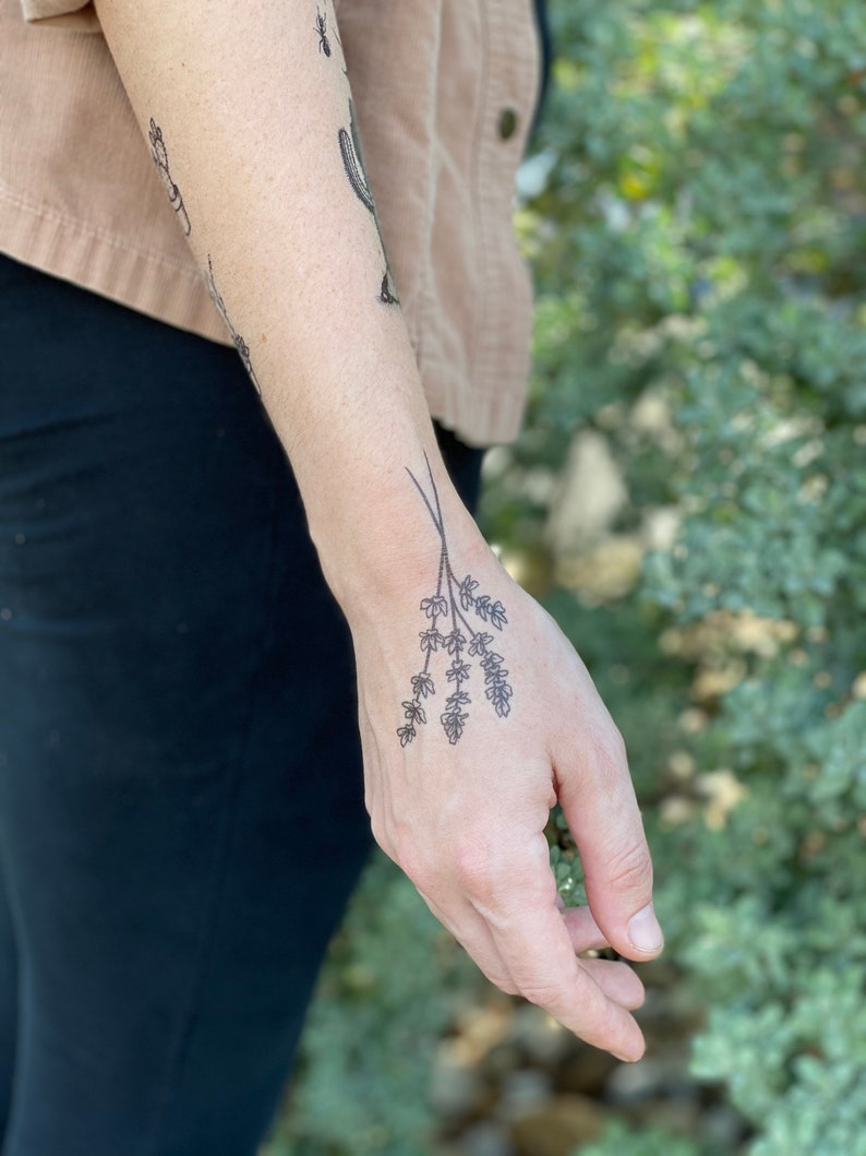 Lavender Twigs Temporary Tattoo Collection of 2 Black Ink image 0