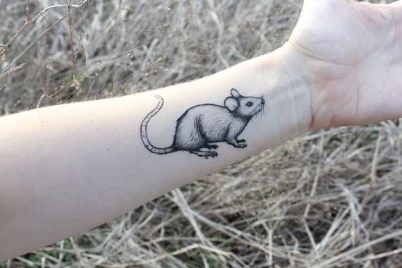 Mouse Temporary Tattoo Rat Tattoo Black Ink Rodent Small Etsy