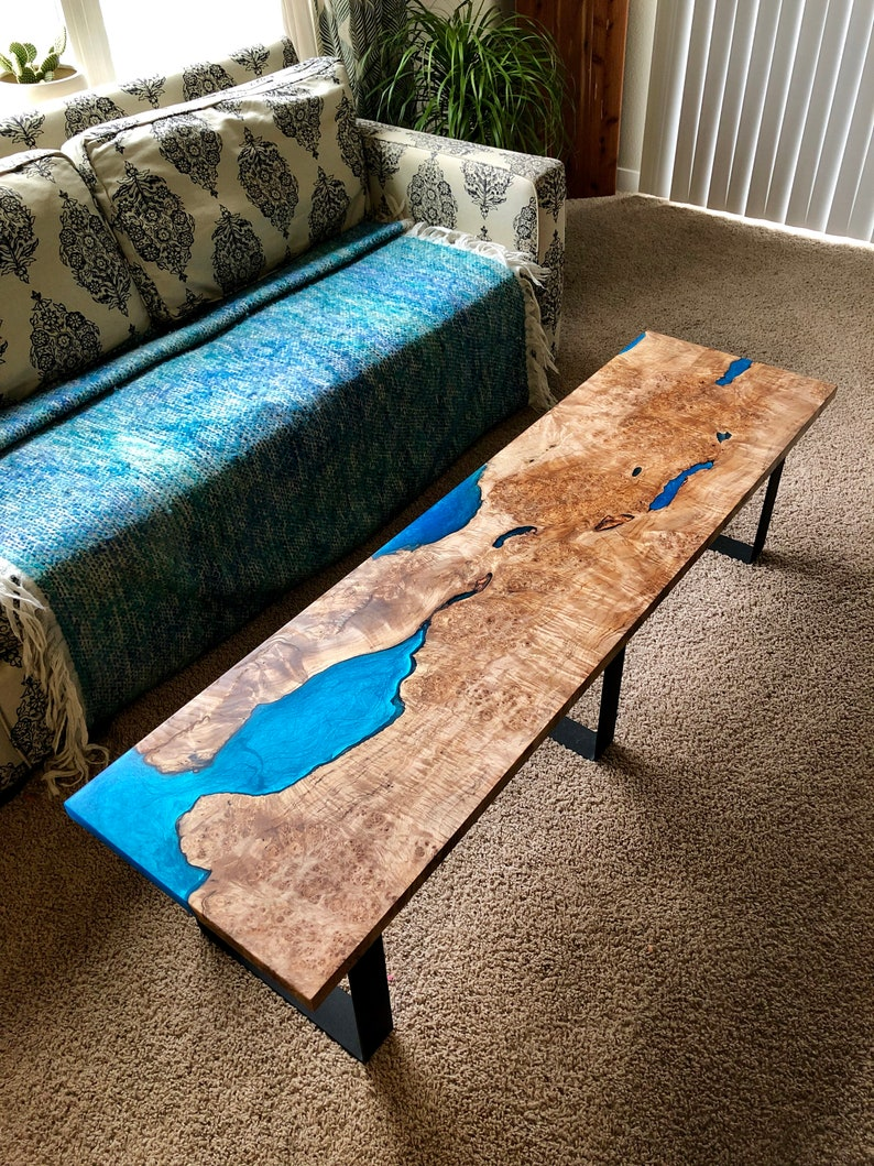 Maple burl epoxy resin coffee table for outdoor