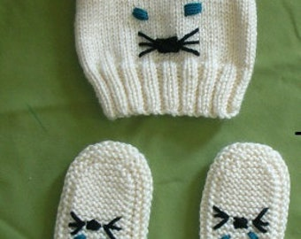 Hand-Knitted Kitty Hat and Slippers SALE