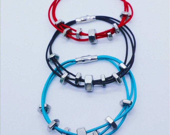 Bracelet - Brown - Red - Teal - Gray - Stainless Steel - Nuts - Genuine Leather - INDUSTRIAL CHIC