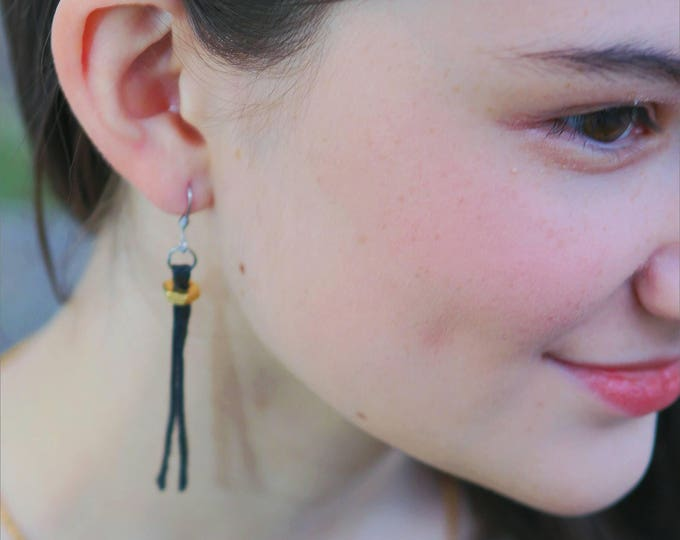 Earrings -  RECLAIMED LEATHER DANGLE