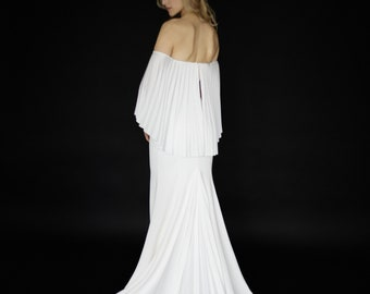 Off-the-shoulder modern crepe wedding dress Crepe Pleated satin wedding dress Open shoulders minimalist fitted wedding dress long train ELYN