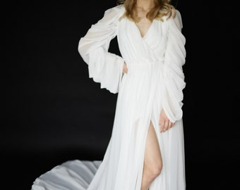 Long sleeve chiffon wedding dress V neck boho wedding dress A line open back bridal dress Modern long train minimalist wedding dress DIANE