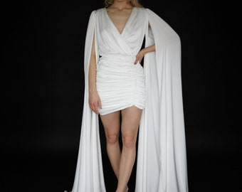 Satin mini wedding dress V neck Elongated sleeves short wedding dress Modern minimalist wedding dress Floor length cape sleeve gown VIVIENNE
