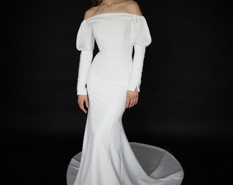 Off-shoulder crepe wedding dress Minimalist long sleeve wedding dress Modern mermaid wedding dress Open off the shoulders fitted gown BIANCA