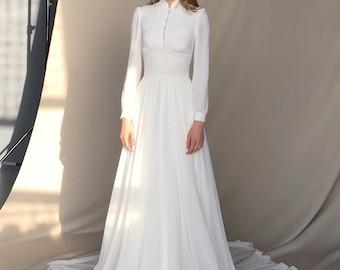 Long sleeve wedding dress - Chiffon wedding dress button-up - Long train bridal gown - Minimalist light ivory wedding dress - APOLLO