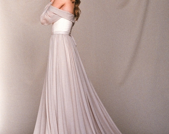 Beige Off Shoulder Wedding Dress