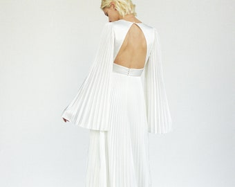 Satin pleated wedding dress V neck boho wedding dress Bohemian flared sleeve wedding dress Pleated skirt open back wedding gown OCTAVIA