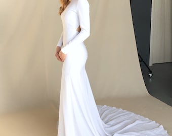 8674cee9cbe Modern crepe wedding dress - Minimalist bridal gown - Simple sexy dress -  open keyhole back - buttons - long train - long sleeve - MAGNOLIA