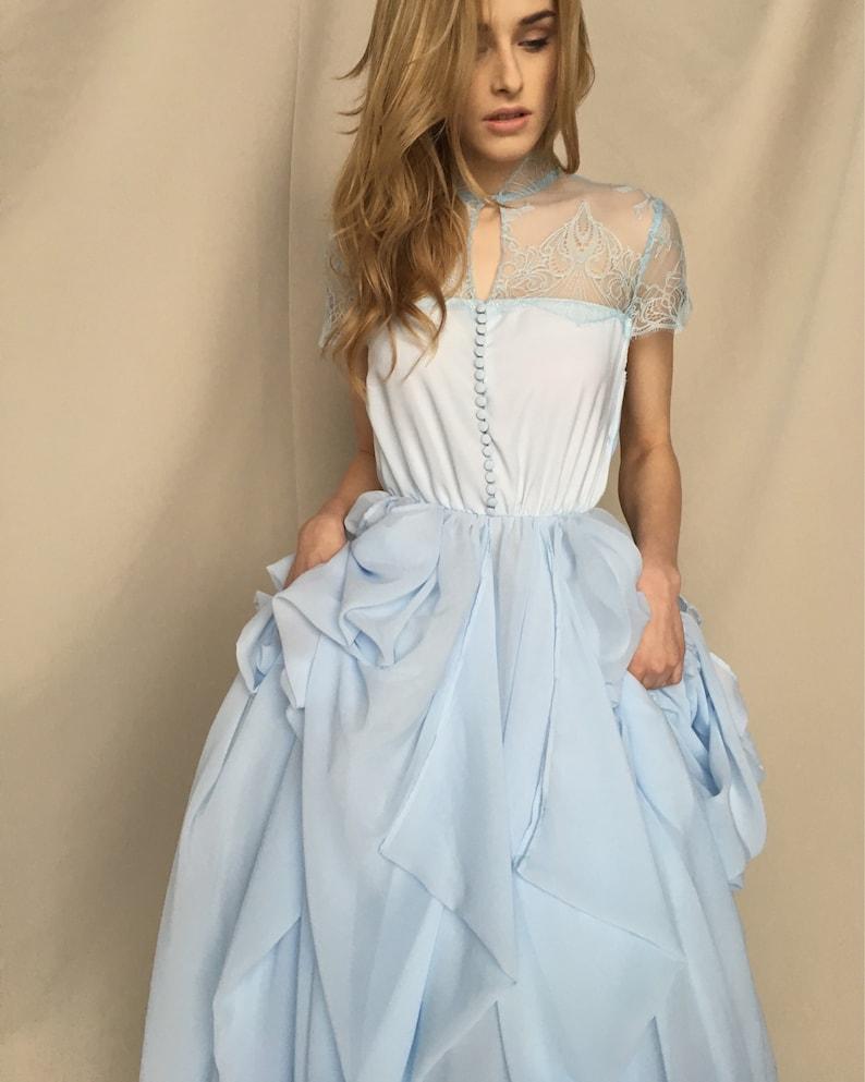 Blaue Hochzeitskleid hellblau Chiffon Brautkleid farbige Boho Braut Kleid  blau Brautkleid - PLAVA