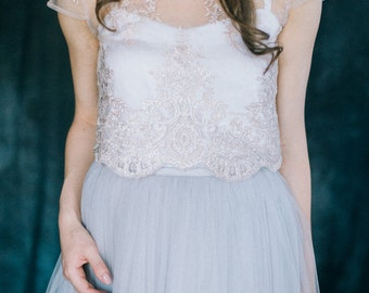 Two piece colored wedding dress - Beige lace top with light gray tulle skirt - Bridal separates set - Nontraditional skirt and top - LUNA