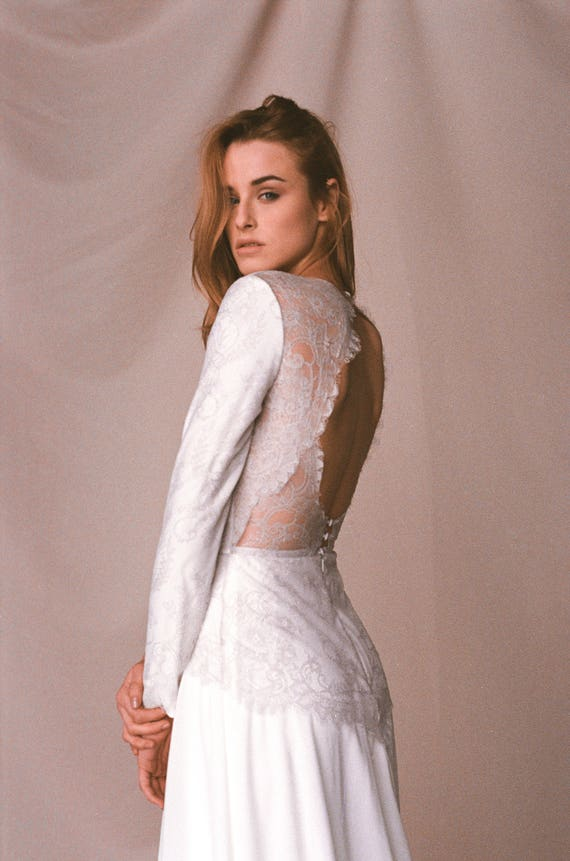 Keyhole Lace Back Wedding Dress Open Back Ivory Crepe Etsy